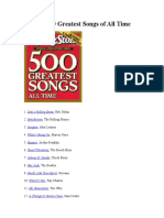 The Rolling Stone 500 Greatest Songs of All Time