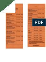 Price List Wirama Spa