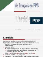 Gramaire français --> L'article