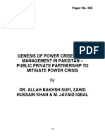 Genesis of Power Crises & Its Management in Pakistan – Public Private Partnership to Mitigate Power Crisis
