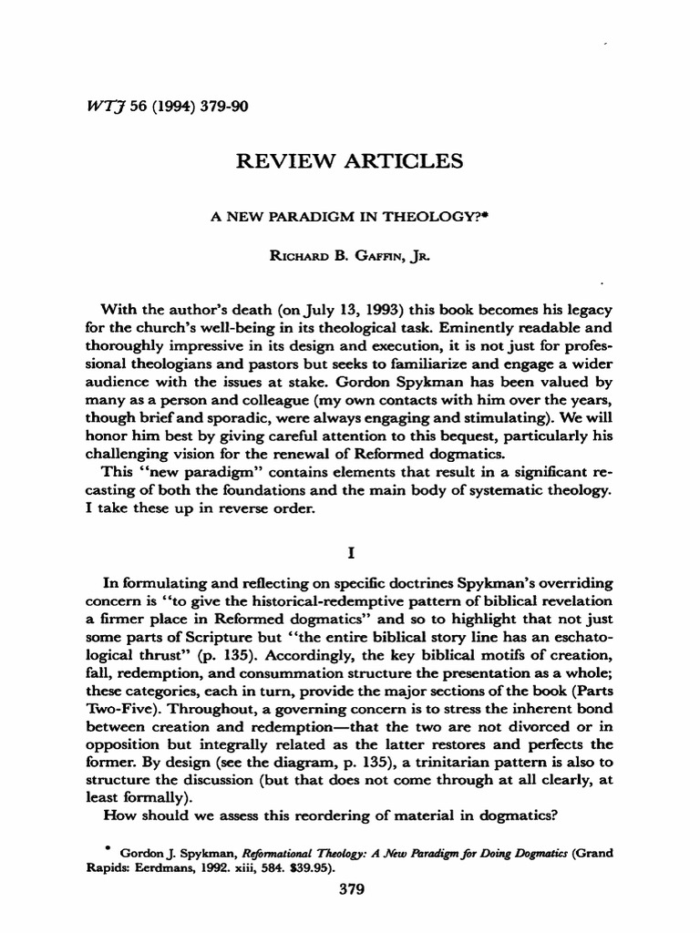 Gaffin a new paradigm in theology revelation calvinism fandeluxe Images