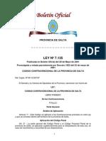 Ley 7135 Codigo Contravencional de Salta
