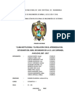 Clima Institucional y Su Relación Con El Aprendizaje Del Estudiante Del Nivel Secundario de La i.e. Luis Carranza, Ayacucho, 2007 - 2012