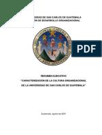 """Resúmen Ejecutivo """"Caracterización de la cultura organizacional de la Universidad de San Carlos de Guatemala"""""""