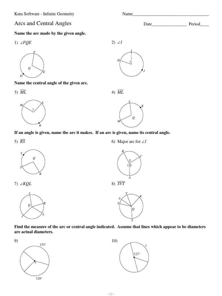 worksheet Central Angles Worksheet 11 arcs and central angles angle geometric measurement