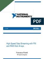 Trasferimento di dati ad altissima velocità con PXI e array di dischi RAID