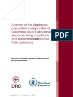 A review of the displaced population in eight cities of Colombia