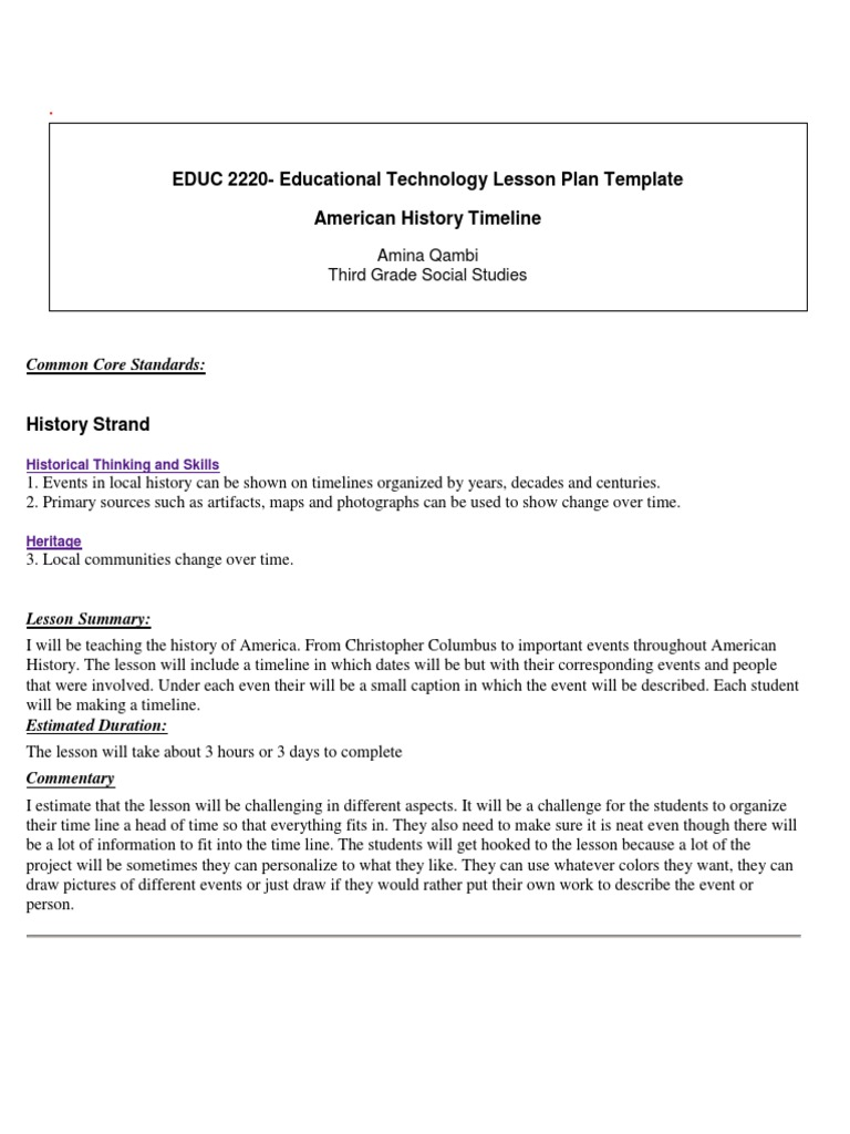 My Technology Lesson Plan Lesson Plan Teaching - History lesson plan template