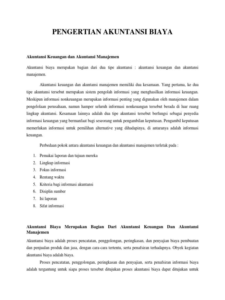 Terminologi Akuntansi Biaya