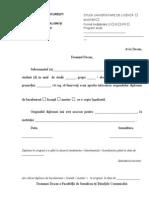Cerere Pentru Inlocuirea Diplomei in Original Cu o Copie Legalizata
