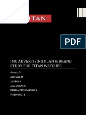 Brand Study Advertising Plan For Titan Watches Marketing Business Economics