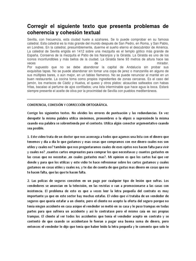 Corregir El Siguiente Texto Que Presenta Problemas De Coherencia Y Cohesión Textual Precios Oferta Economía