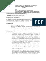 Enseñanza de Las Normas Sobre Clasificacion Vehicular, Caracteristicas y Requisitos Tecnicos Vehiculares Relativos a Vehiculos de Servicio de Transporte de Personas