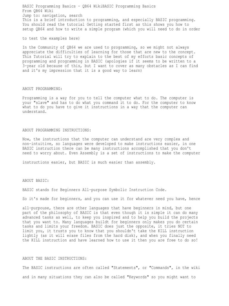 BASIC Programming Basics - QB64 Wiki   Subroutine