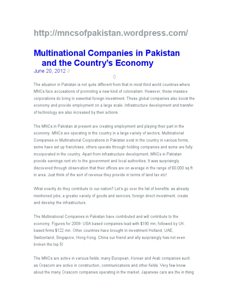 MNCS of Pakistan | Multinational Corporation | Politics