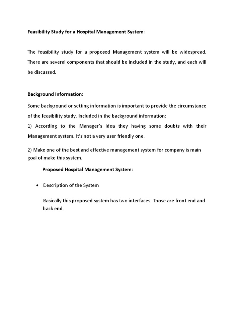 hospital management sysem technical feasibility