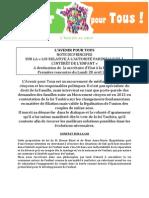 Note de principes sur la «loi relative à l'autorité parentale et à l'intérêt de l'enfant»
