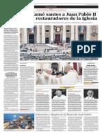 El Papa Proclamó Santos a Juan Pablo II y Juan XXIII, Restauradores de La Iglesia