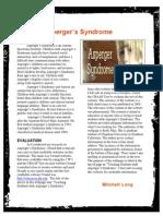 aspergers newsletter mitchell l