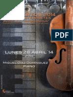 """MIGUEL DÍAZ, PIANO - CICLO JÓVENES INTÉRPRETES 2014 - AUDITORIO """"ÁNGEL BARJA"""" CONSERVATORIO DE LEÓN"""