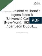 Souveraineté Et Liberté, Duguit