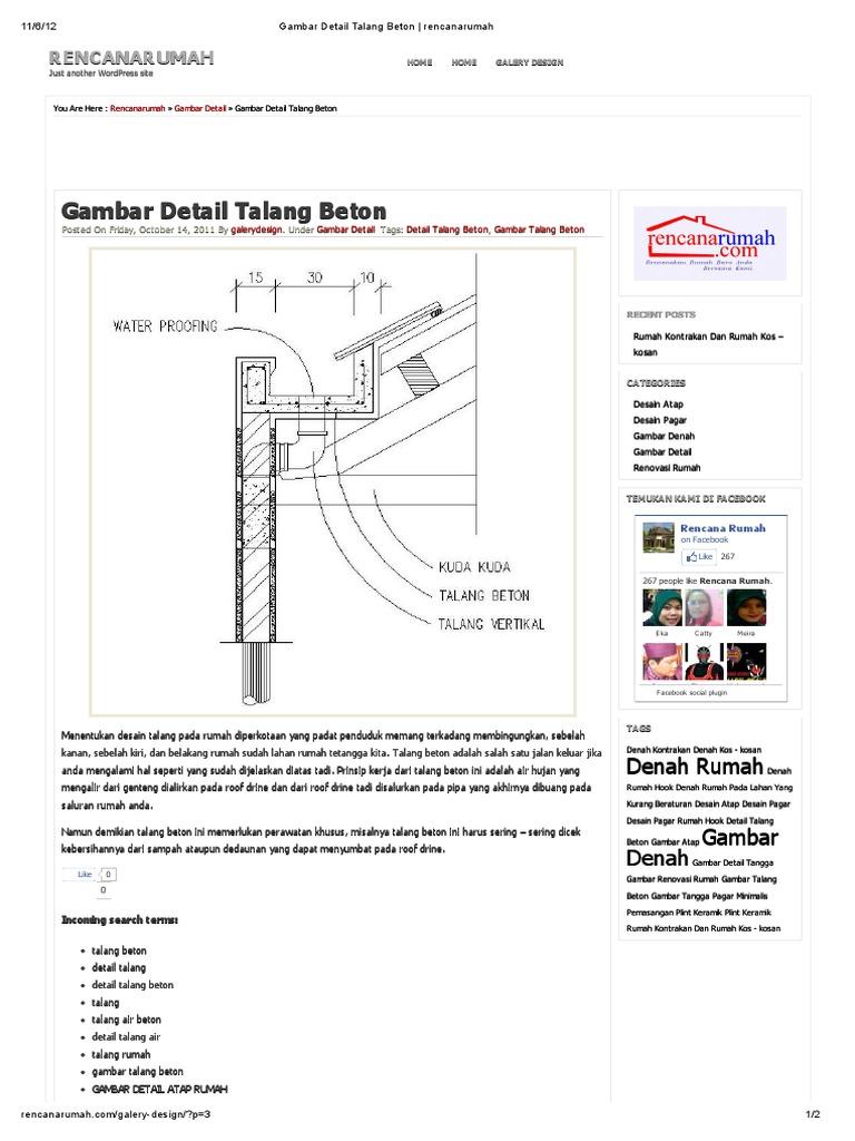 Gambar Detail Talang Beton Rencana
