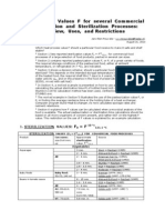 Heat Process Values F for Several Commercial Sterilization and Pasteurization Processes - Overview Uses and Restrictions