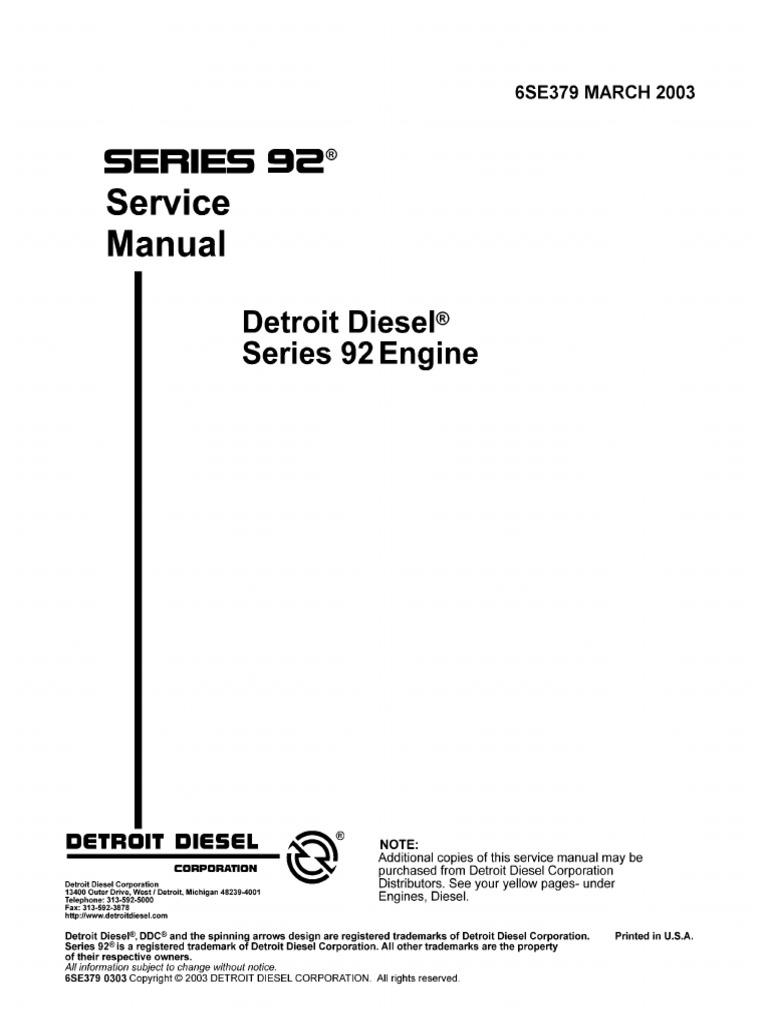 detroit diesel 6v92 series 6se379 march2003 internal combustion rh scribd com detroit diesel 6v92 workshop manual detroit diesel 6v92 service manual pdf