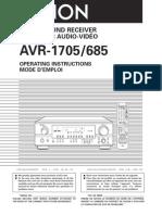AVR-1705 685S-OM WebRmt Ownersmanual