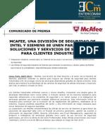 Mcafee y Siemens Se Unen Para Ofrecer Soluciones y Servicios de Seguridad Para Clientes Industriales