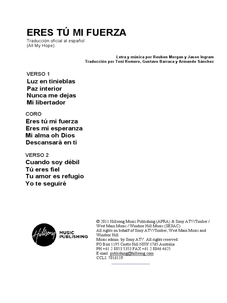 All My Hope Spanish Official Translation