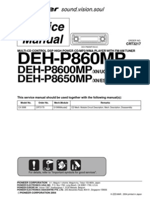 [WQZT_9871]  Pioneer Deh p860mp,Deh p8600mp,Deh p8650mp Sm | Integrated Circuit | Cd Rom | Wiring Diagram Pioneer Deh P8600mp |  | Scribd