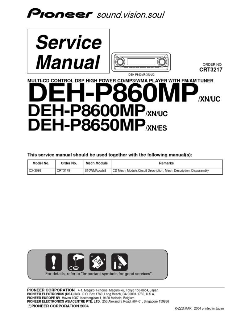 pioneer deh p860mp,deh p8600mp,deh p8650mp sm | electrical connector |  transistor