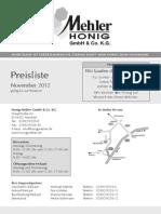 Preisliste November 2012