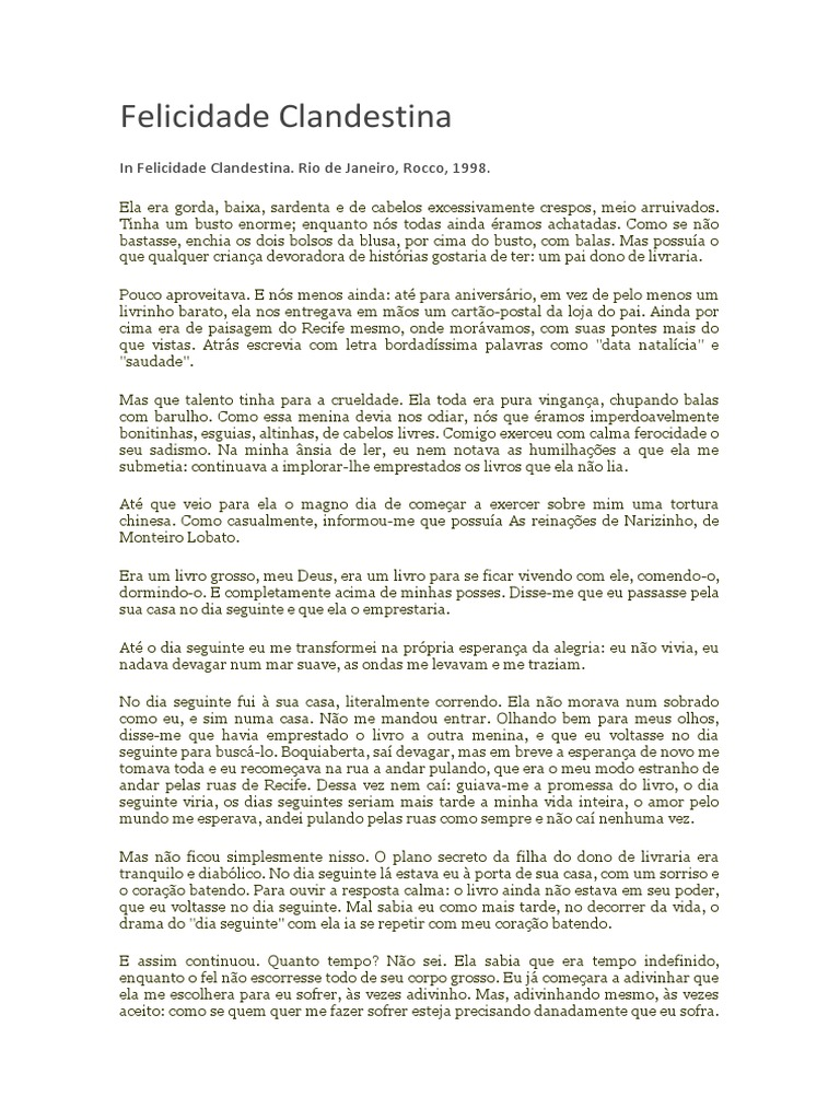 livro felicidade clandestina clarice lispector pdf