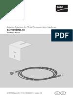 Antenna Extension for SMA Communication Interfaces ANTEXTKIT25-10 - Installation Manual (ANTEXTKIT-Eng-IUS111910)