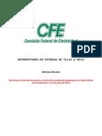 NRF-022-CFE-2010 Interruptores de Potencia en Vacio