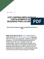 AT&T CONTINÚA IMPULSANDO EL FORTALECIMIENTO DE LA SEGURIDAD PARA LAS EMPRESAS