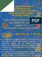 Charlas Muni Norma Sanitaria Para El Funcionamiento de Resturantes 2005