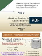 F2 Aula 5 Hidrostática Principios Pascal Arquimedes Stevin
