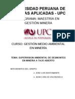 Supervision Ambiental de Desmontes en Mineria a Tajo Abierto (Final)