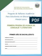 Primera Prueba Avance Lenguaje Literatura Primer Año Bachillerato