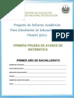Primera Prueba Avance Matematica Primer Año Bachillerato
