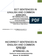 Incorrect Sentences in English and Common Errors