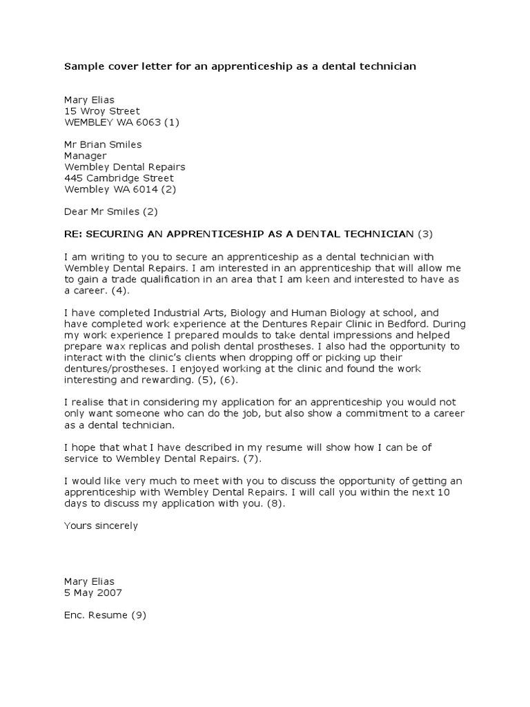 Sample Cover Letter for an Apprentice Dental Technician