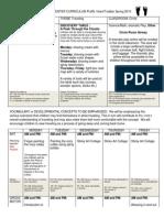 cirriculum sheet for traveling lead week