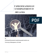 Recent Specifications in Labor Unemployment in Sri Lanka.