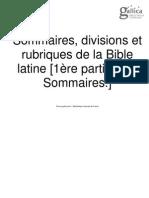 D. De Bruyne,  Sommaires, Rubriques et Divisions de la Bible Latine