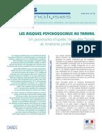 Darès Analyse - Risques Psychosociaux Au Travail - Avril 2014