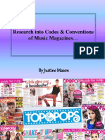 Justine Mason AS Media RESEARCH INTO CODES AND CONVENTIONS OF MUSIC MAGAZINES
